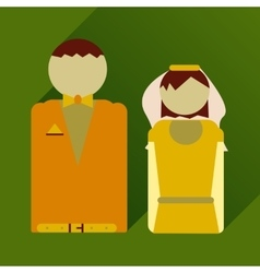 Flat icon with long shadow bride and groom vector