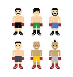 Pixel people boxer avatar set vector
