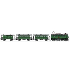 Old green electric train vector