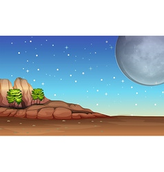 A desert under the bright full moon and sparkling vector image vector image