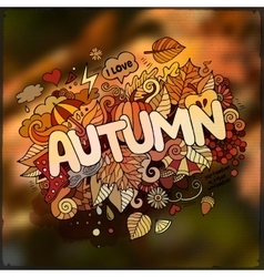 Autumn season hand lettering and doodles elements vector