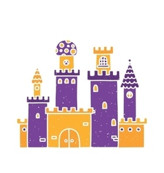 Cartoon castle isolated purple vector