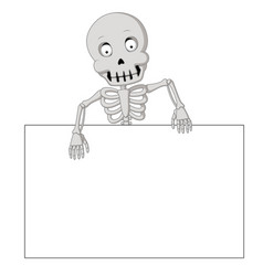 cartoon funny human skeleton with blank sign vector image