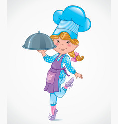Chef baby with tray vector image vector image