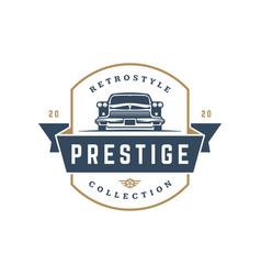 classic car logo template design element vector image