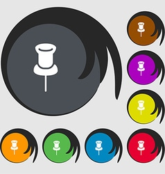 Clip Icon sign Symbols on eight colored buttons vector image vector image