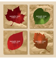 collection of leaves on a paper vector image