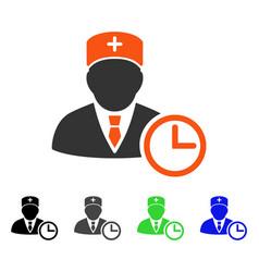 Doctor clock flat icon vector