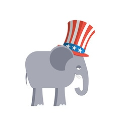 Elephant in uncle sam hat republican elephant vector