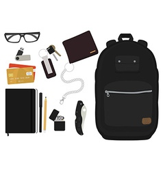 Every day carry man items no outlines vector