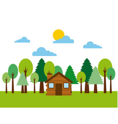 forest cottage house natural landscape vector image