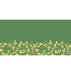 Green And Gold Leaves Horizontal Seamless Pattern vector image vector image