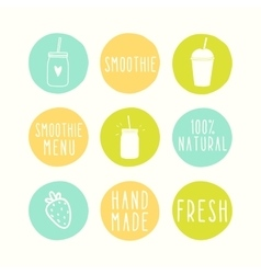 Hand drawn smoothie badges vector