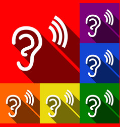 Human ear sign set of icons with flat vector