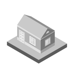 Isometric house3d village landscape iconsgrey vector