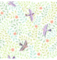 leaves spring birds vector image