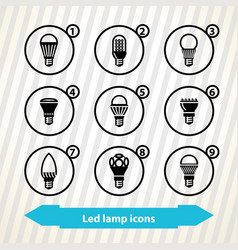 led lamp icons vector image