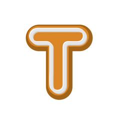 Letter t gingerbread peppermint honey-cake font vector