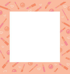 Makeup cosmetics tools icons pattern border vector
