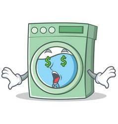 Money eye washing machine character cartoon vector