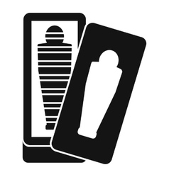 Mummy in sarcophagus icon simple style vector