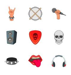 Music festival icons set cartoon style vector