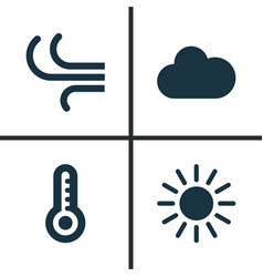 nature icons set collection of temperature sun vector image