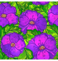 Ornate violet flowers seamless pattern vector image vector image