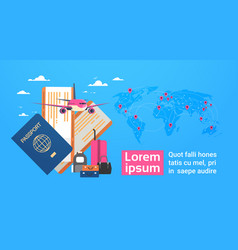 Plane boarding passport and tickets with baggage vector