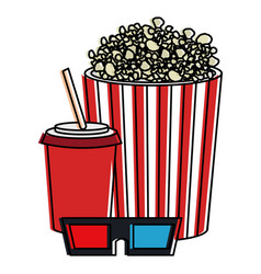 pop corn with soda and glasses 3d vector image