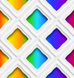 Rainbow colored rectangles holes and rim seamless vector
