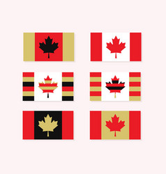 red white and golden canadian flags set - simple vector image vector image