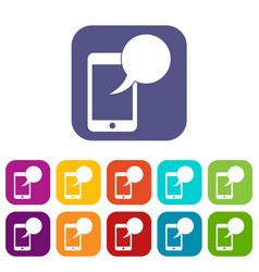 Speech bubble on phone icons set vector