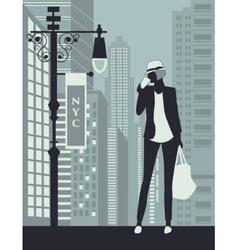 Woman in new york city vector