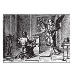 Zacharias is told by an angel that his wife will vector