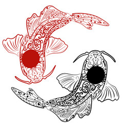 Zentangle stylized hand drawn koi fish vector
