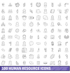 100 human resource icons set outline style vector image