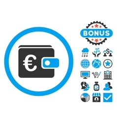 Euro purse flat icon with bonus vector