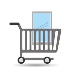 Buying cart smartphone mobile design vector