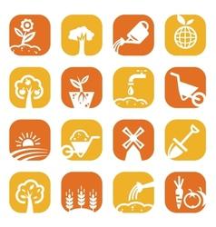 color gardening icon set vector image