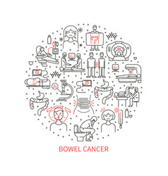 Bowel cancer icons vector