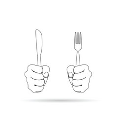 Cutlery in hand drawing on white background vector