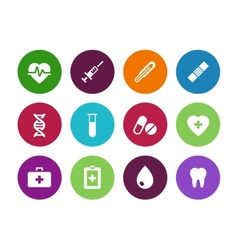 Medical circle icons on white background vector
