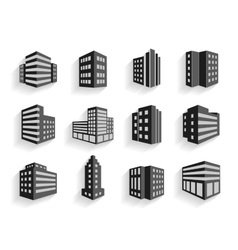 Set of dimensional buildings icons vector image