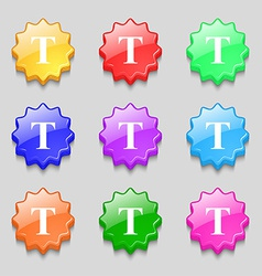 Text edit icon sign symbol on nine wavy colourful vector
