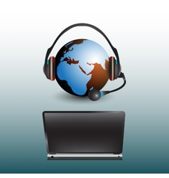 Globe with headphones sitting at the computer vector