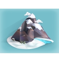 Mountain winter icon vector