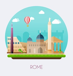 Rome skyline and landscape of buildings and famous vector
