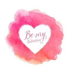 Pink watercolor painted stain with heart shape vector