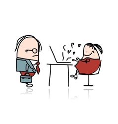 Angry boss and secretary cartoon for your design vector